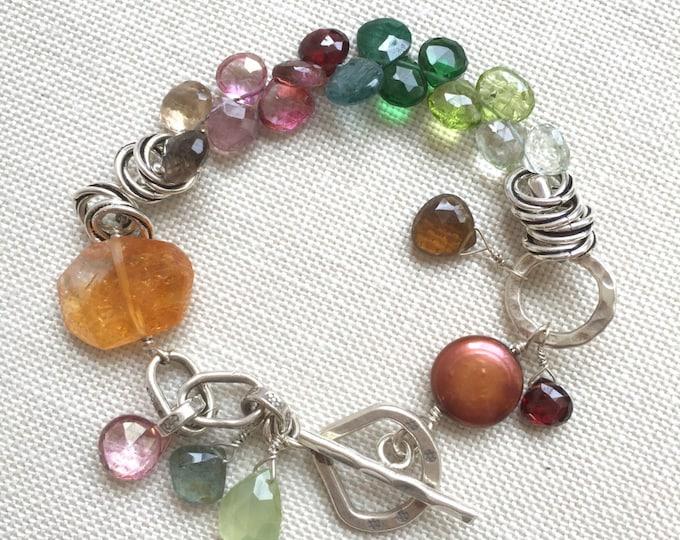 Chunky Gemstone Bracelet--Citrine, Tourmaline, Peridot on Sterling Silver