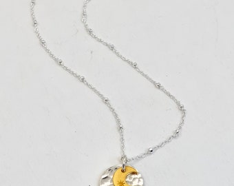 """Sun and Moon Charm Necklace   Mixed Metal Necklace   16"""" or 18"""""""