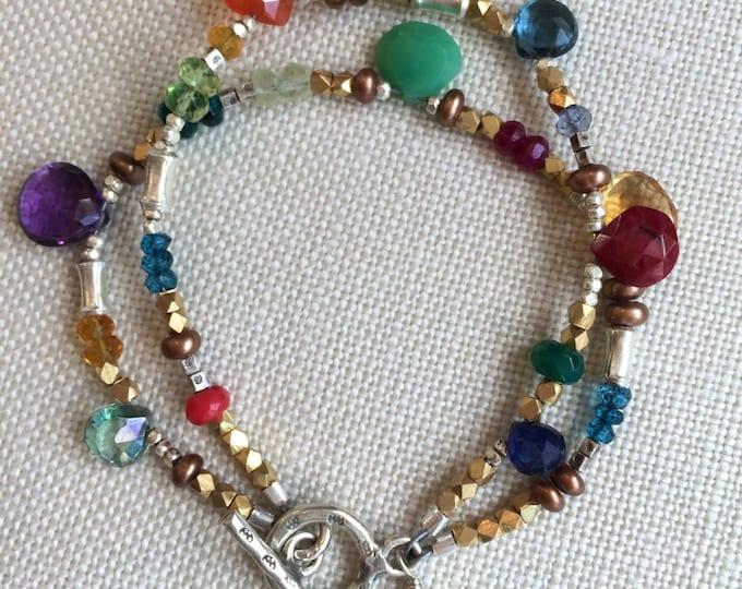 Double Strand Multi Gemstone Bracelet--Ruby, Amethyst, Turquoise, Peridot, London Blue Topaz and more