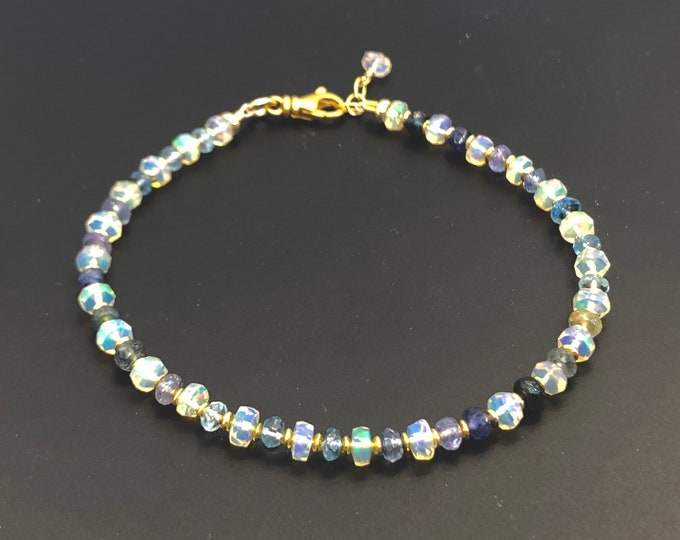Opal and Sapphire Bracelet | October Birthstone | September Birthstone