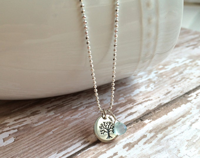 "Small Tree of Life with Aqua Chalcedony Dangle on 16"" Diamond Cut Bead Chain"