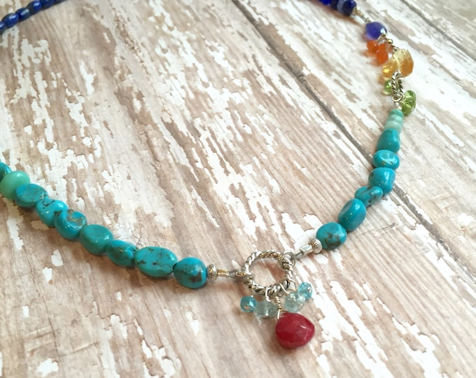 Turquoise and Lapis Necklace with Gemstone Dangles