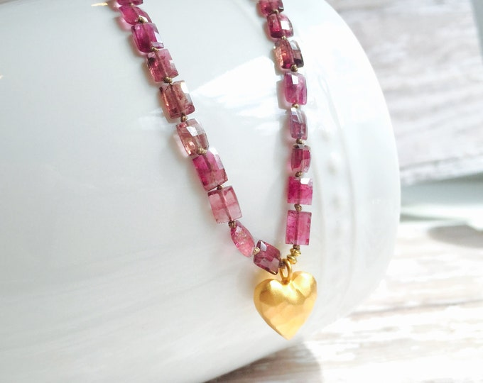 Pink Tourmaline and Vermeil Gold Heart Necklace--Perfect for Valentine's Day  October Birthstone Necklace