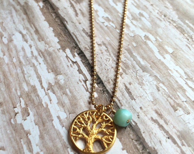 Gold Tree of Life Necklace | Mother's Necklace | Birthstone Necklace | Personalized