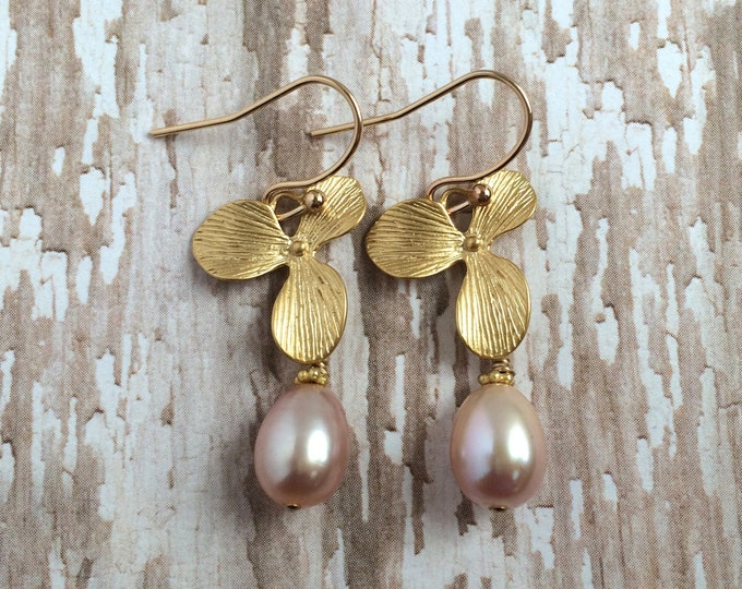 Soft Pink Freshwater Pearl Dangle Earrings on Golden Flowers--Perfect for Braidesmaids