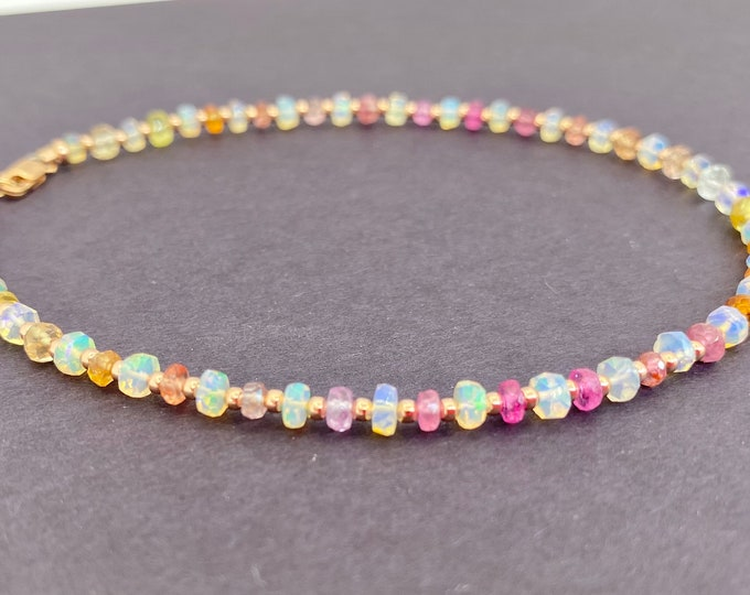 """Opal and Rainbow Sapphire Anklet 10"""" 