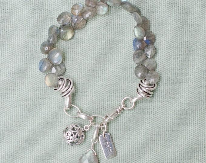 Faceted Labradorite Gemstone Charm Bracelet