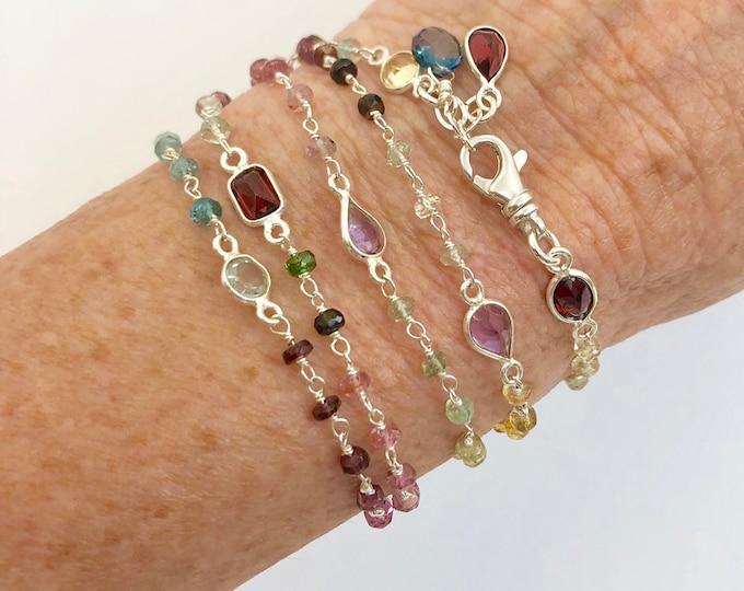 Tourmaline Wrap Bracelet | Gemstone Link Bracelet