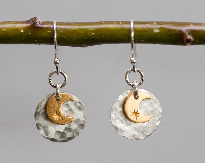 Sun and Moon Dangle Earrings,  Silver and Gold Mixed Metals