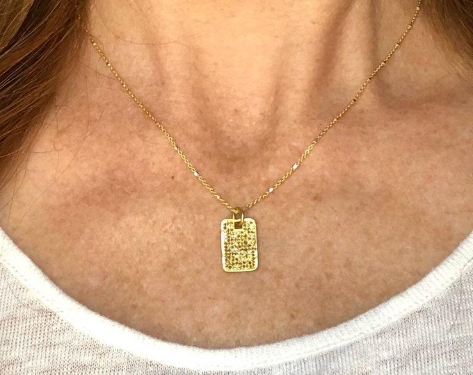 Diamond Tag Pendant Necklace