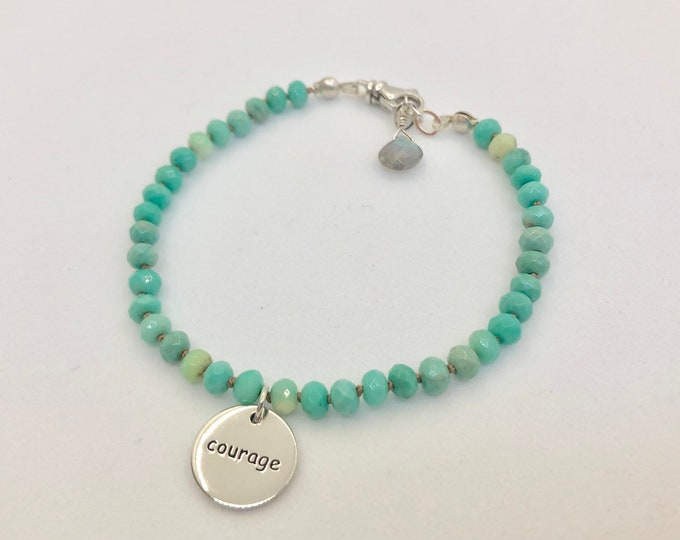 Chrysophrase Charm Bracelet for Courage and Strength