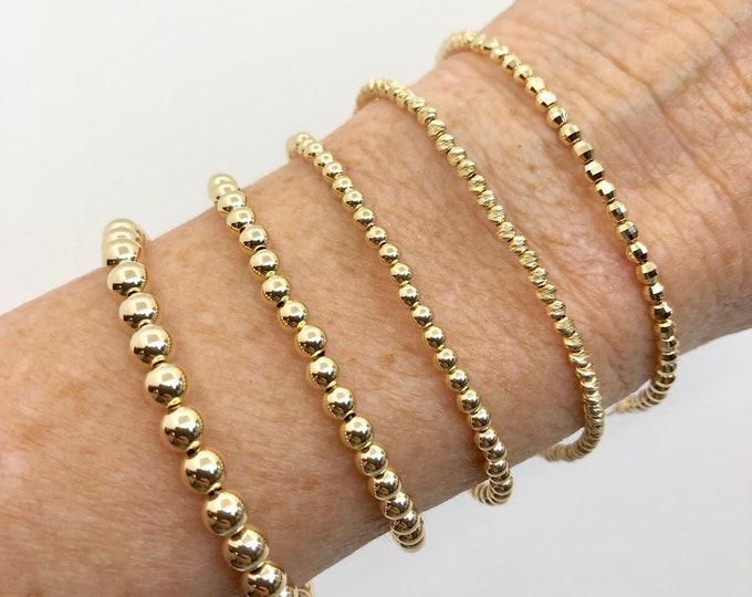 Solid 14kt Gold Bracelet--2.5 mm Diagonal Laser Cut