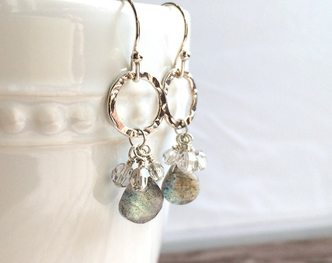 Labradorite Gemstone Dangle Earrings, Silver Drop Earrings--Brilliant!