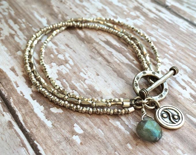 Multi Strand Silver beaded Bracelet with Labradorite Dangle