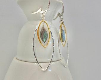Marquis Hoop Earrings   Mixed Metal Earrings   Gold, Silver and Labradorite