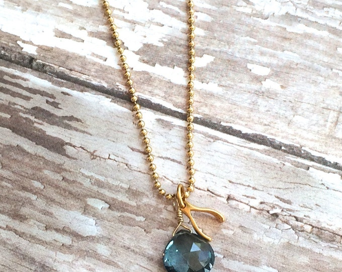 London Blue Topaz and Gold Wishbone Necklace | Graduation Gift | Good Luck Necklace