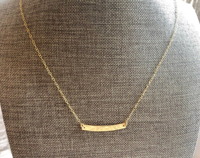 Hammered Gold Curved Bar Necklace | Gold Charm Necklace
