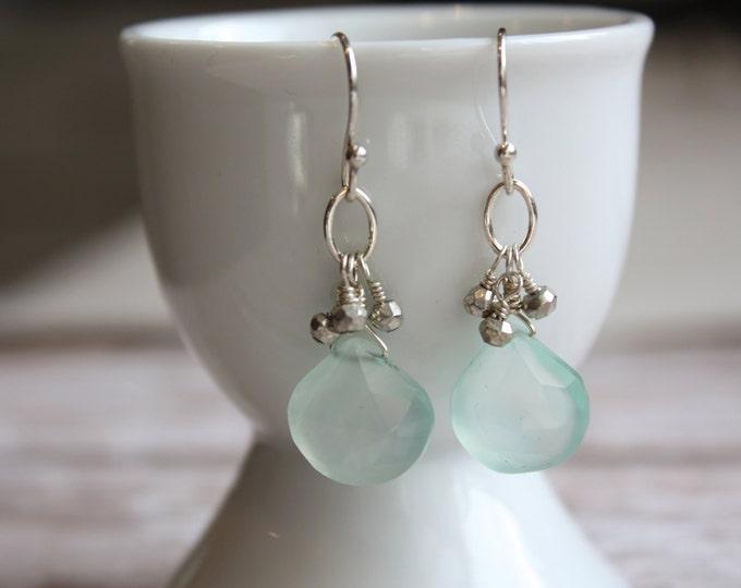Aqua Dangle Earrings--Mint Chalcedony Drop Earrings. Bridesmaid Jewlery or Resort Earrings