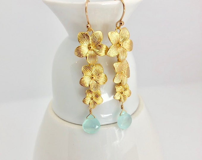 Aqua Chalcedony and Gold Floral Earrings