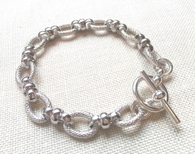 Silver Rhodium Link Toggle Bracelet