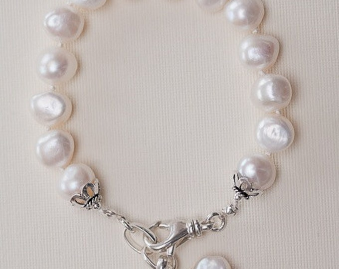 White Pearl Bracelet--Hand knotted Irregular Pearls with charms  10-11 mm Size