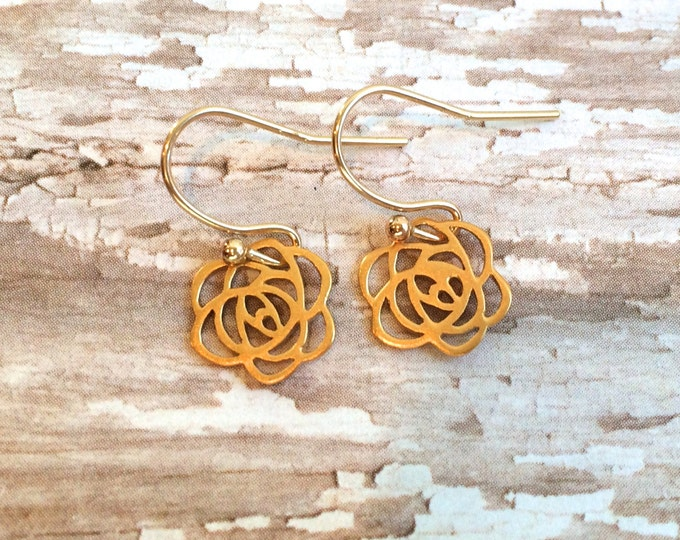 Tiny Gold Flower Earring--24 K Matte Gold Plate Rose French Wire Earrings