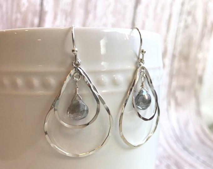 Silver and Labradorite Teardrop Dangle Earrings