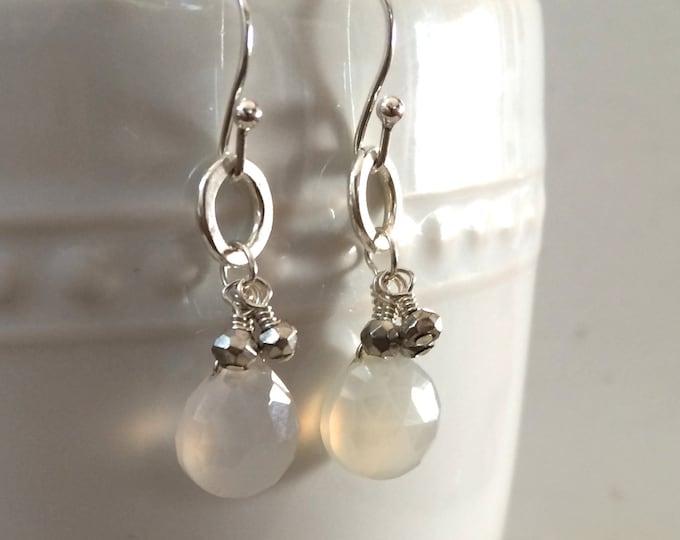 White Chalcedony Dangle Earrings on Silver