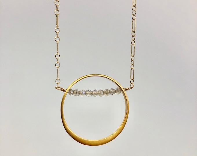 Gold and Labradorite Circle Pendant Necklace
