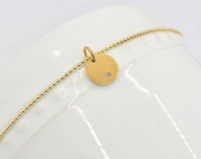 """Tiny Gold Diamond Pendant Necklace--16"""" Gold Fill Bead Chain  Perfect for Layering"""