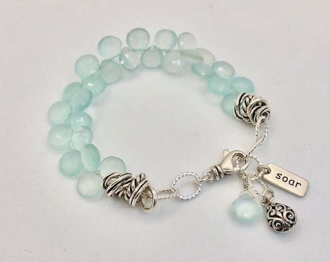 Green Chalcedony and Silver Charm Bracelet  Inspirational Jewelry