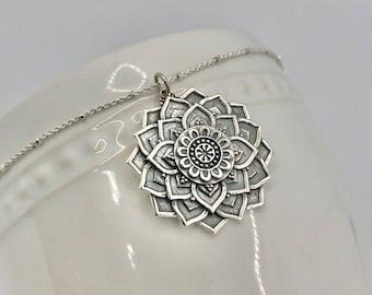 Sterling Silver Lotus Mandala Necklace