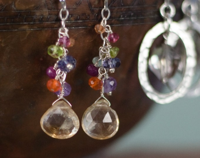 Multi Gemstone Dangle Earrings--Perfect for Mother's Day
