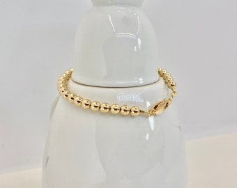 5 mm Round Gold fill Bracelet   Classic Round Bead   Tiffany Style