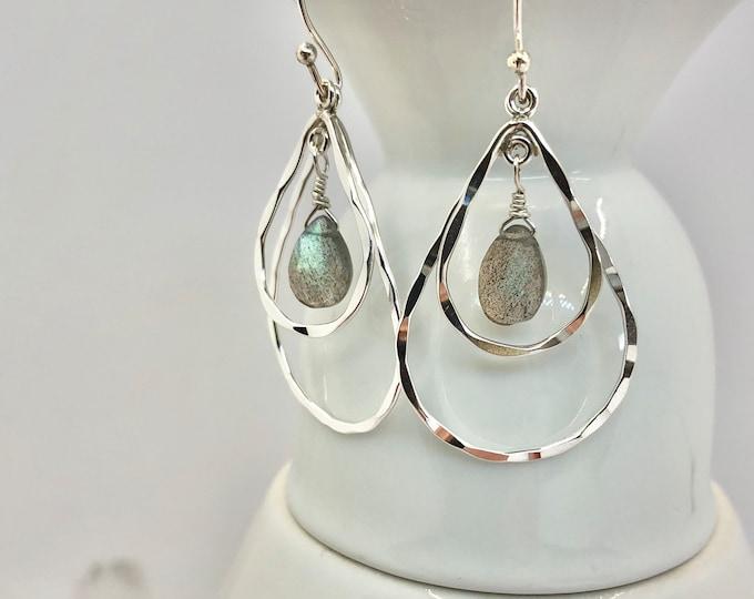 Labradorite and Sterling Teardrop Tiered Earrings