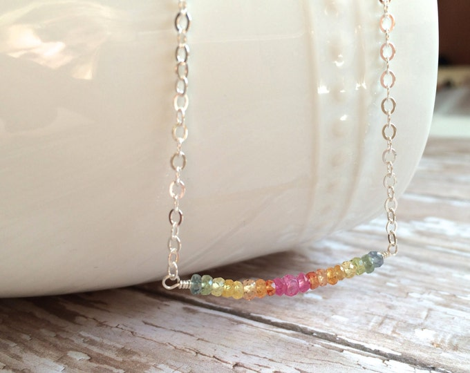 """Multi Colored Sapphire Necklace--16"""" Perfect for Layering"""