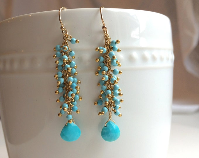 Turquoise Dangle Earring--Perfect for Bridesmaids, Homecoming, and Weddings, Gold Turquoise Drops