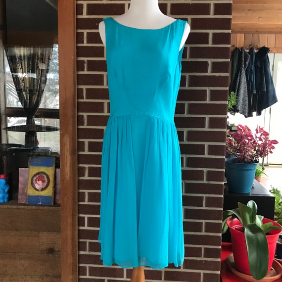 90s does 50s Blue Chiffon Cocktail Dress - image 2