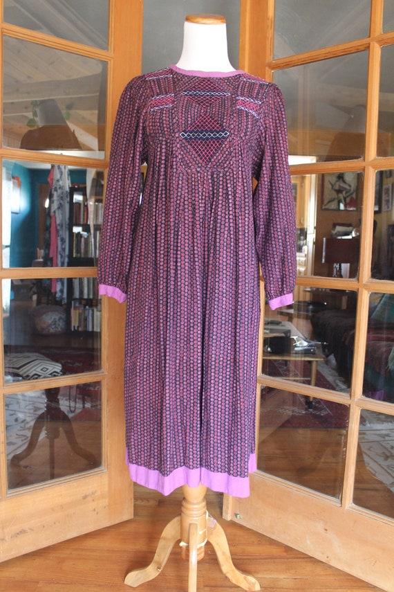 Vintage 1970's Indian Dress Purple - image 3