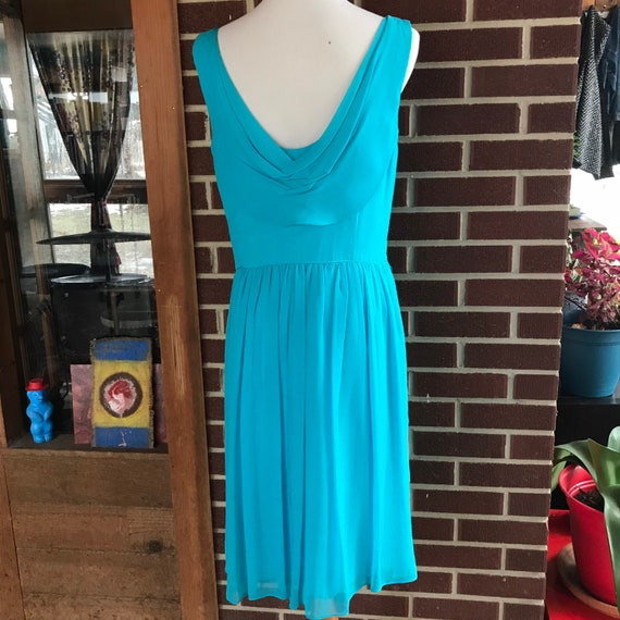 90s does 50s Blue Chiffon Cocktail Dress - image 7