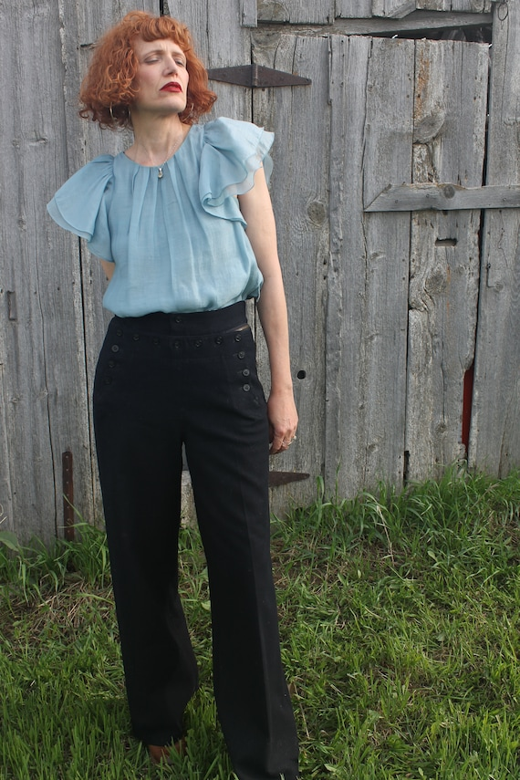 Navy High Waisted Cotton Naval Trouser 1940/'s Size 32 U.S