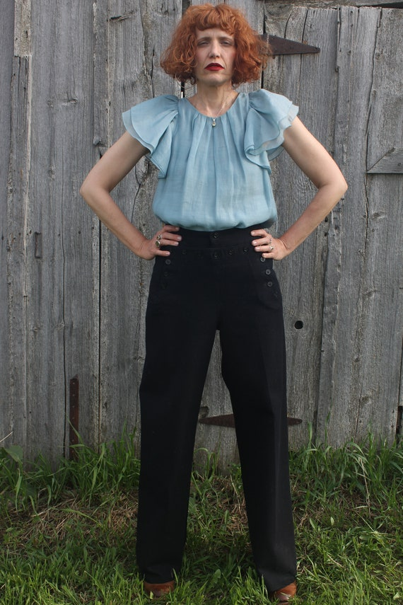 "Vintage Sailor Pants Navy Blue 30"" waist"