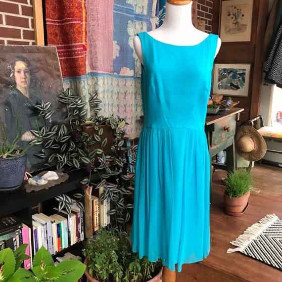 90s does 50s Blue Chiffon Cocktail Dress - image 4