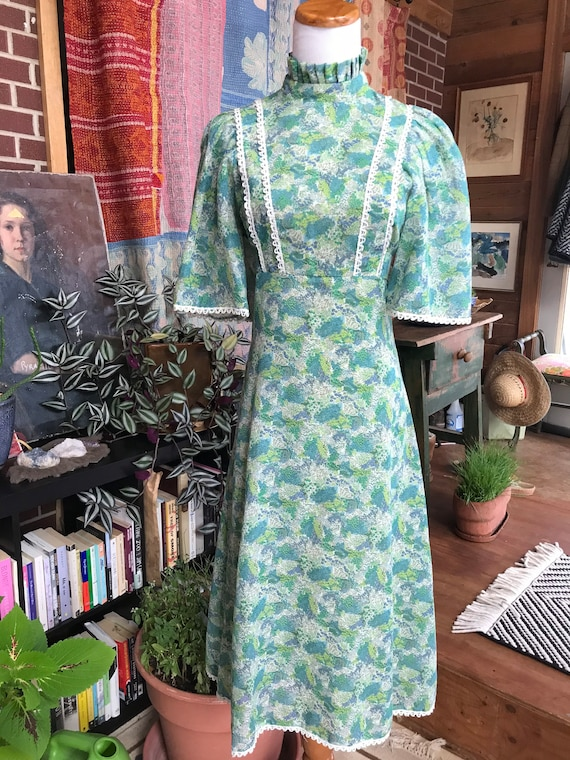 1970's Green and Blue Floral BOHO Dress