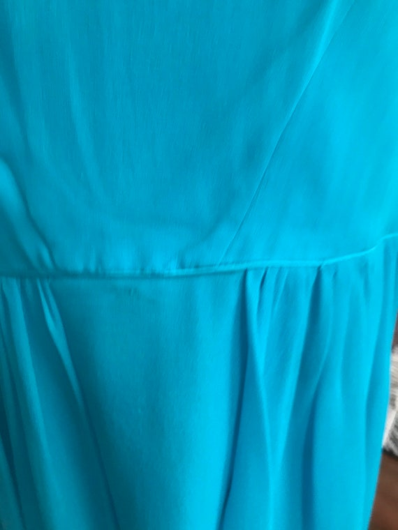 90s does 50s Blue Chiffon Cocktail Dress - image 6