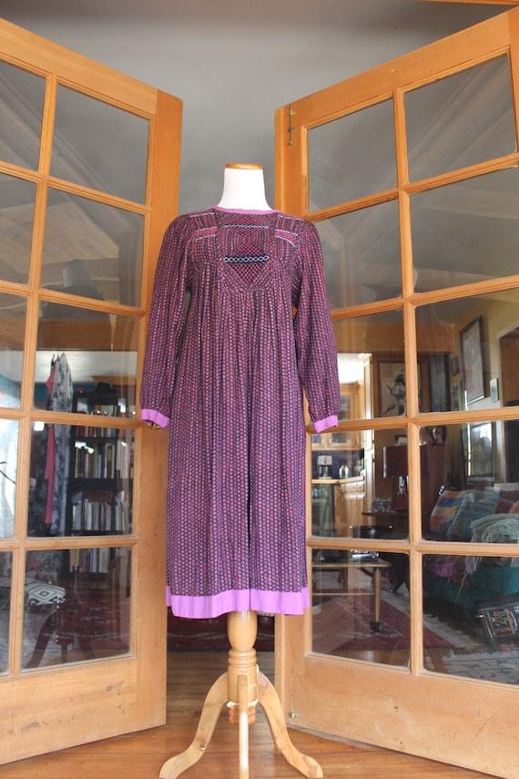 Vintage 1970's Indian Dress Purple - image 2