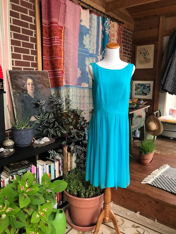 90s does 50s Blue Chiffon Cocktail Dress - image 1