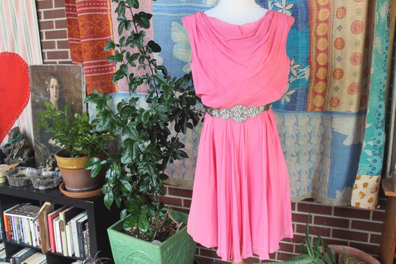 1950's Pink Chiffon Cocktail Dress Medium