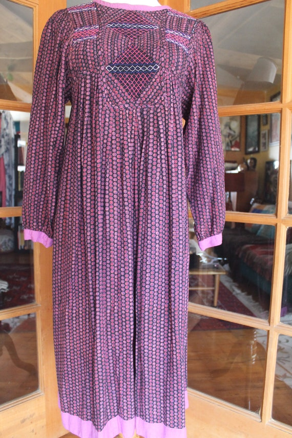 Vintage 1970's Indian Dress Purple - image 4