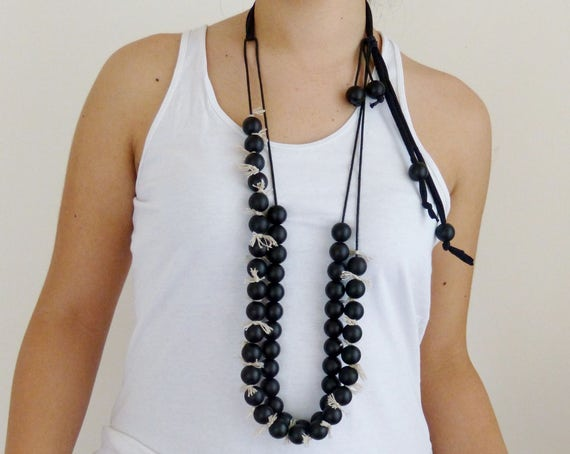 Black pearl double strand Statement necklace, adjustable, top selling shop